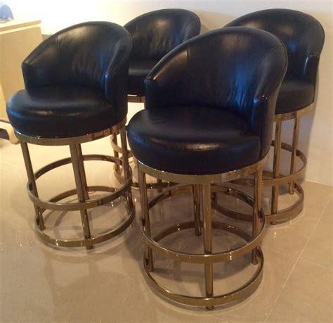 brass swivel counter bar stools vintage set  kitchen