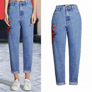 Fashion Loose Boyfriend Jeans Pants Womenu0026#39;s High Waisted Jeans With Embroidery Casual Woman ...