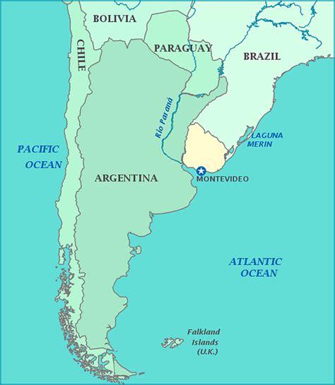 chile argentina uruguay map