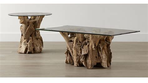 beach wood coffee table driftwood occasional tables crate and barrel
