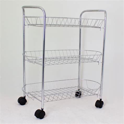 Storage Trolley Metal Multi Storage Kitchen Chrome 3 Tier