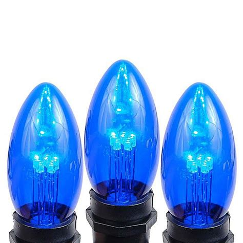 5 pack of blue smooth glass c9 led bulbs novelty lights inc