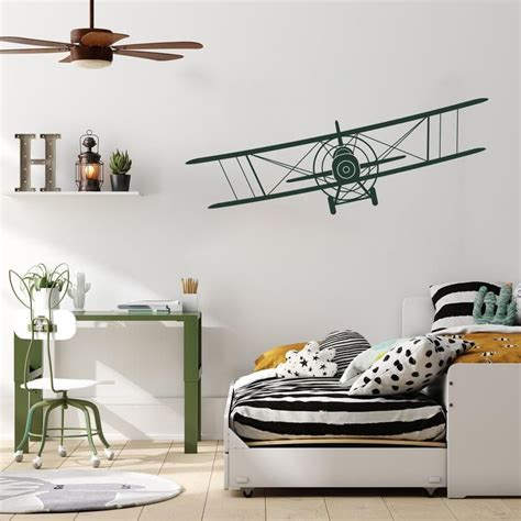 You might also like this photos. Airplane Nursery Wall Decal - Biplane Removable Wall Decal ...