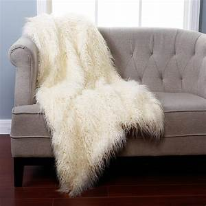 Bed Bath Ivory Mongolian Lamb Faux Fur Throw Blanket With