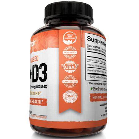 Solar essence d3 + k2. Vitamin K2 + D3 with Bioperine, 90 Capsules   Walmart Canada