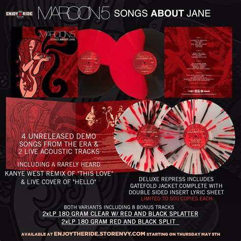 maroon 5 songs about jane new pressing maroon 5 songs about jane modern vinyl