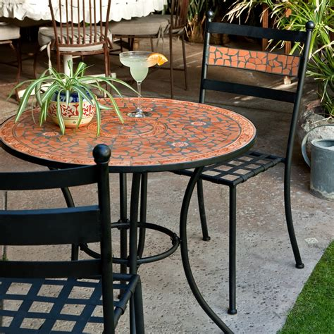 mosaic bistro table and chairs coral coast terra cotta mosaic bistro set outdoor bistro