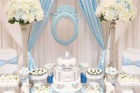 Blue-and-white-elephant-themed-baby-shower-snack-table