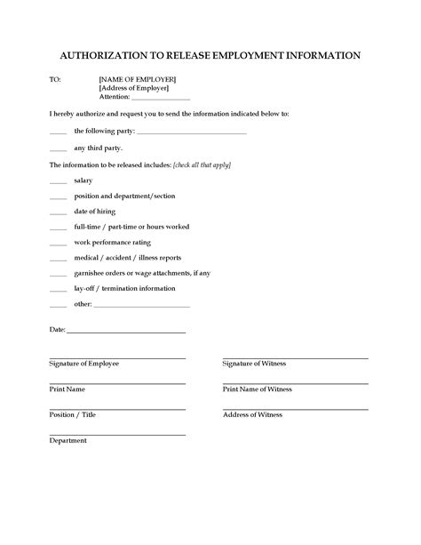 consent  release employment information legal forms