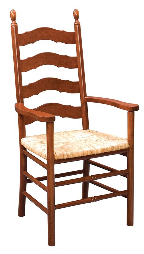 eh country ladder back arm chair amish furniture