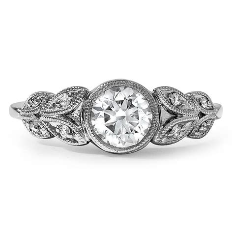 custom antique inspired floral milgrain diamond ring