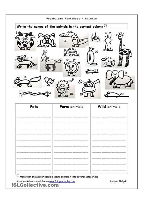 vocabulary worksheet animals 4th grade