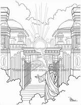 Gate Heavens Coloring Drawing Jesus Welcome Faithful Servant Christian Welcoming Heaven Goodsalt Adult Getdrawings Dave Connell Sketches Scripture sketch template