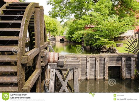 wooden water mill stock photo image  commerce