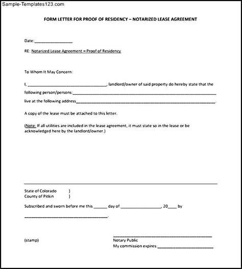 proof of residency letter template pdf letter proof of residency letters font
