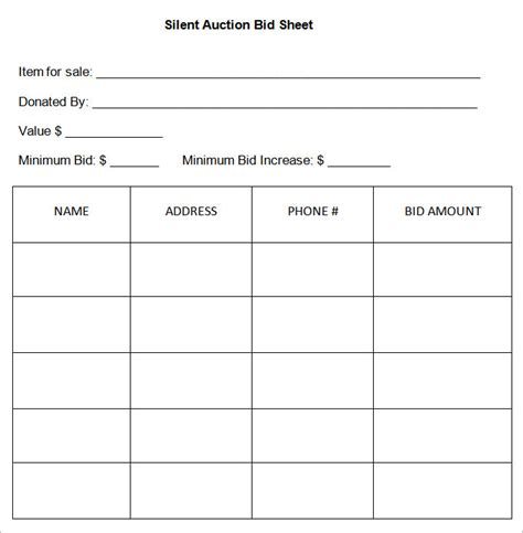 silent auction template 20 silent auction bid sheet templates sles doc pdf excel free premium templates