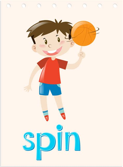 action wordcard  boy spinning ball
