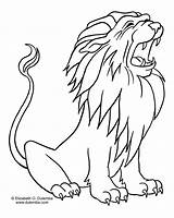 Lion Coloring Animals sketch template