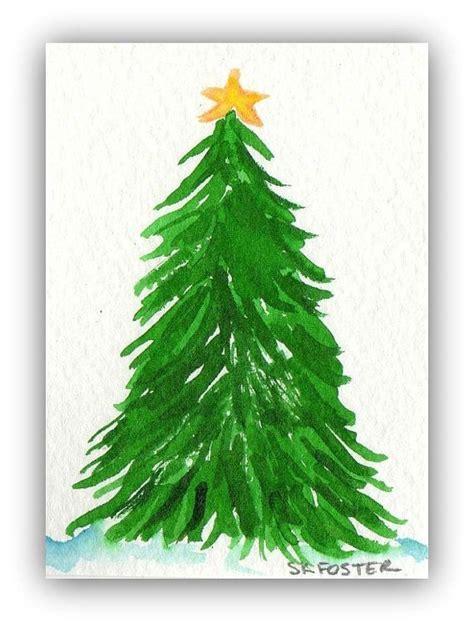 christmas tree painting aceo original watercolor painting art card