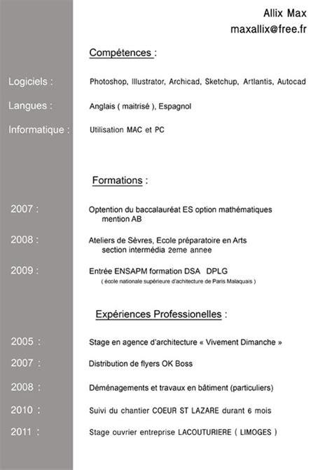 Cv En Ligne Gratuit Télécharger by Exemple De Cv 233 Tudiant En Architecture Sle Resume