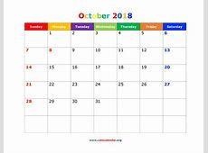 October 2018 Calendar Cute printable yearly calendar