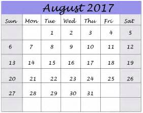 August 2017 Printable Calendar Monthly Org