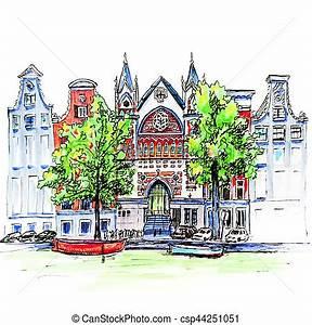 ville canal maisons eglise amsterdam vue canal With dessin plan de maison 3 dessin de ville damsterdam illustration de vecteur