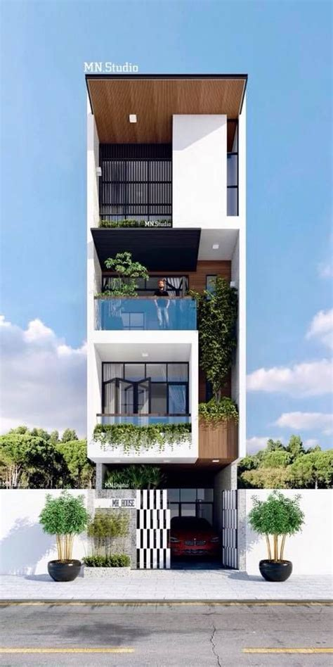 pin  siddhu  nha pho small house design architecture small house exteriors narrow house
