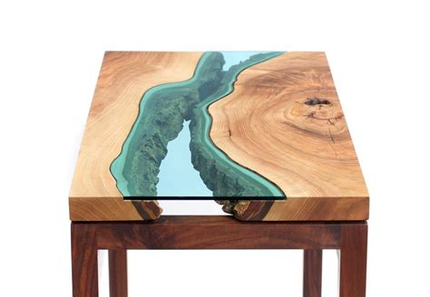 topography coffee table wood tables embedded with glass rivers by greg klassen