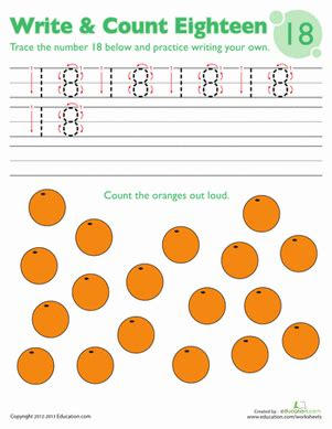 Tracing Numbers & Counting 18  Worksheet Educationcom