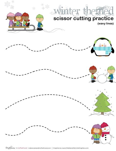 winter scissor cutting practice sheets printables 225 | Winter cutting practice wavy lines