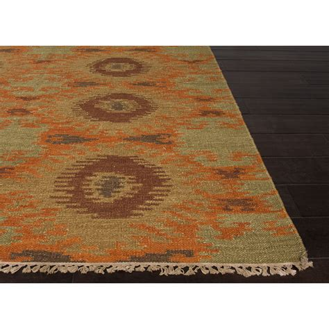 green area rug jaipur rugs flatweave tribal pattern orange green wool