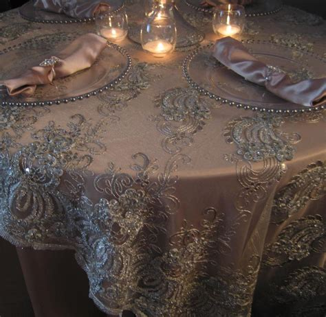 champagne tablecloth  ivory lace overlay event