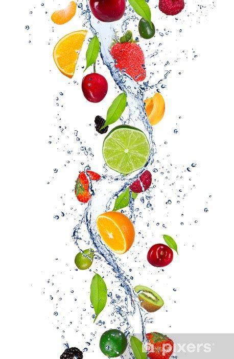 fresh fruits falling  water splash wall mural pixers