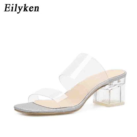wedges jelly coktu adcenter sq eilyken 2019 new pvc jelly slippers sandals open toe square heel transparent perspex