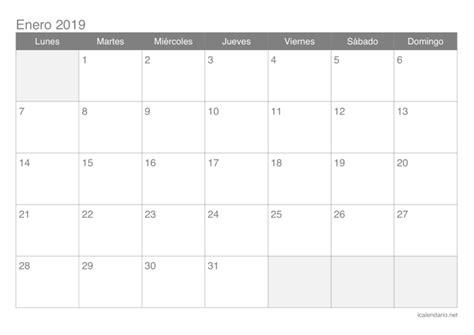 Calendario 2019 Para Imprimir