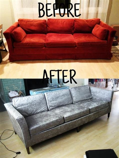 Reupholster Furniture by Reupholster Your Sofa Before And After Homemadebyjade In
