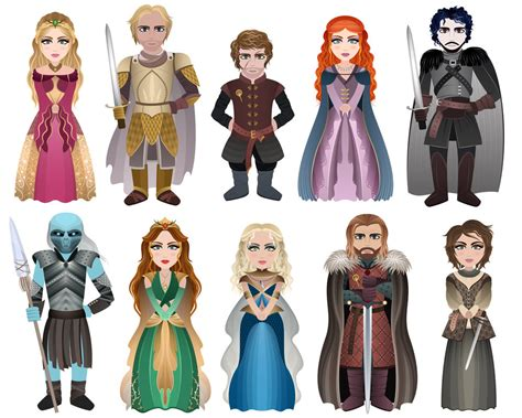 game  thrones characters set  ozaidesigns  deviantart
