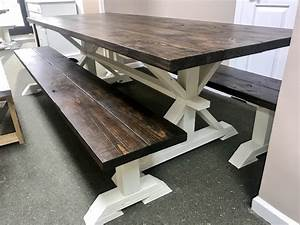 8ft, Rustic, Farmhouse, Table, With, Long, Benches, Banquet, Table, Large, Farmhouse, Table, With, Espresso