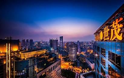 Shanghai Night Urban China Rise Buildings Skyline