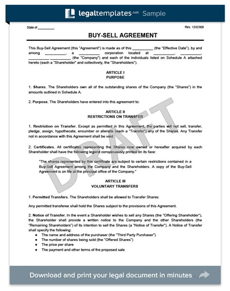 buy sell agreement template create   buy sell agreement