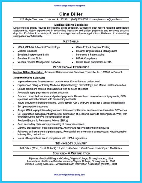 Billing Specialist Resume Exles pin on resume template coder