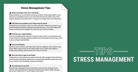 stress management tips worksheet therapist aid