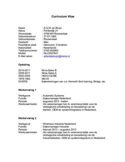 Cv Details Exle by Cv Albert De Bruijn 2014
