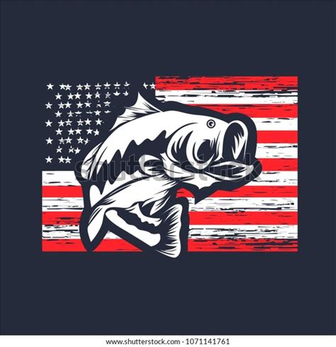 The item will be sent directly to your mailbox if. Bass Fishing On Usa Flag Vector Stock Vector (Royalty Free ...