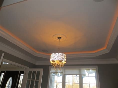 tray ceiling with rope lighting chandelier home