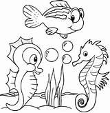 Sea Animals Coloring Seahorse Cartoon Creatures Animal Colouring Printable Colorear Ocean Seahorses Fun Mar Detailed Desenhos Horse Books Coloriage Pdf sketch template