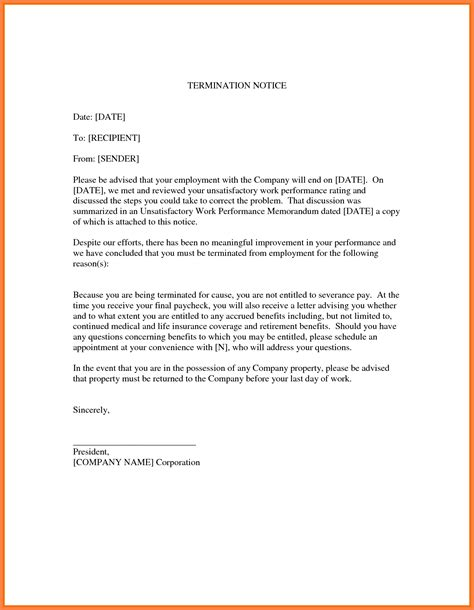 termination notices sample notice letter