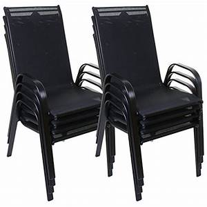 Marko Outdoor Stacking Textoline Chair Black Outdoor