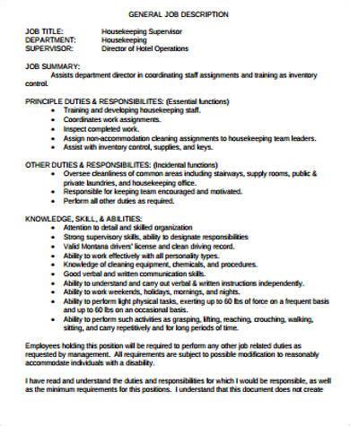 Housekeeping Supervisor Description For Resume by Supervisor Resume Sle 9 Exles In Word Pdf